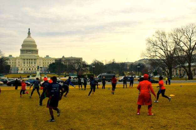 Flag football on the National Mall