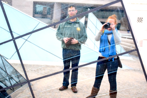 Playing around with the reflective triangle sculpture outside of the art gallery