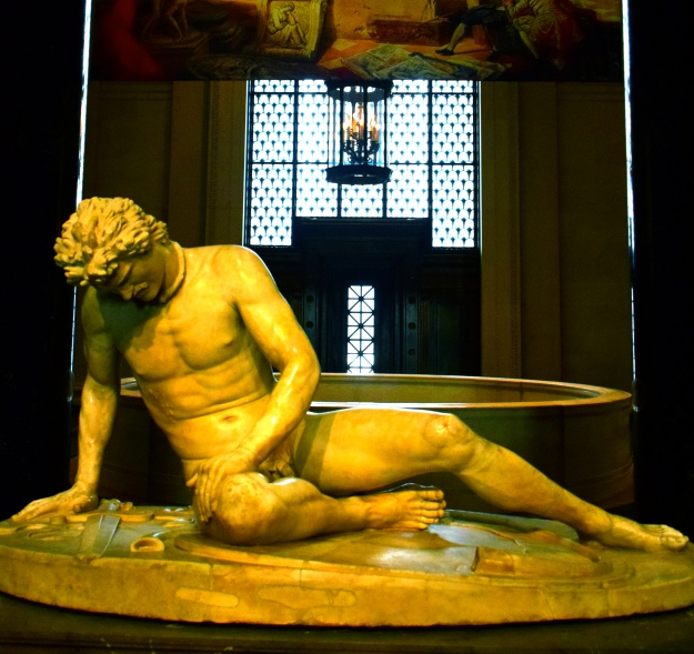 This statue, The Dying Gaul, is visiting all the way from Rome.  It was made in the 1st or 2nd century AD, and this is the first time it has voluntarily left Italy (Napoleon stole it in 1797 and took it to Paris, but France returned it after Napoleon was defeated).  Sorry for the poor picture quality, flash photography wasn't allowed.