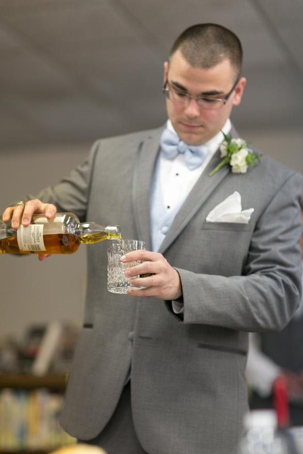 My soon-to-be husband enjoying a pre-wedding scotch to calm his nerves