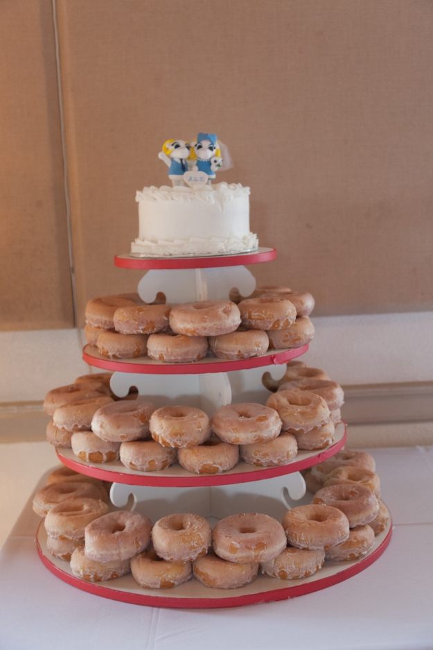 Instead of a traditional wedding cake, we decided to a wedding topper for us to cut.  Everyone else enjoyed Krispy Kreme donuts flambeed in liqueur served with vanilla ice cream.  I didn't get to try one (too busy socializing!) but everyone seemed to really like it.