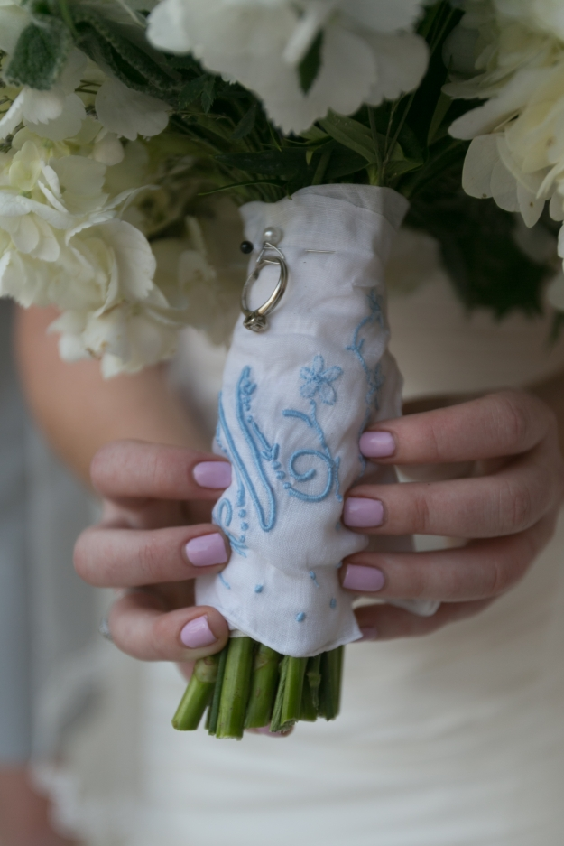 My wedding bouquet wrapped with my paternal grandmother's handkerchief and my maternal grandmother's engagement ring