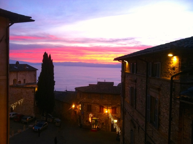 Sunset in Assisi, Italy. January 2013.