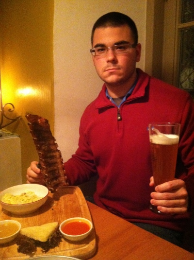 My husband, the carnivore. Bolzano, Italy. January 2013